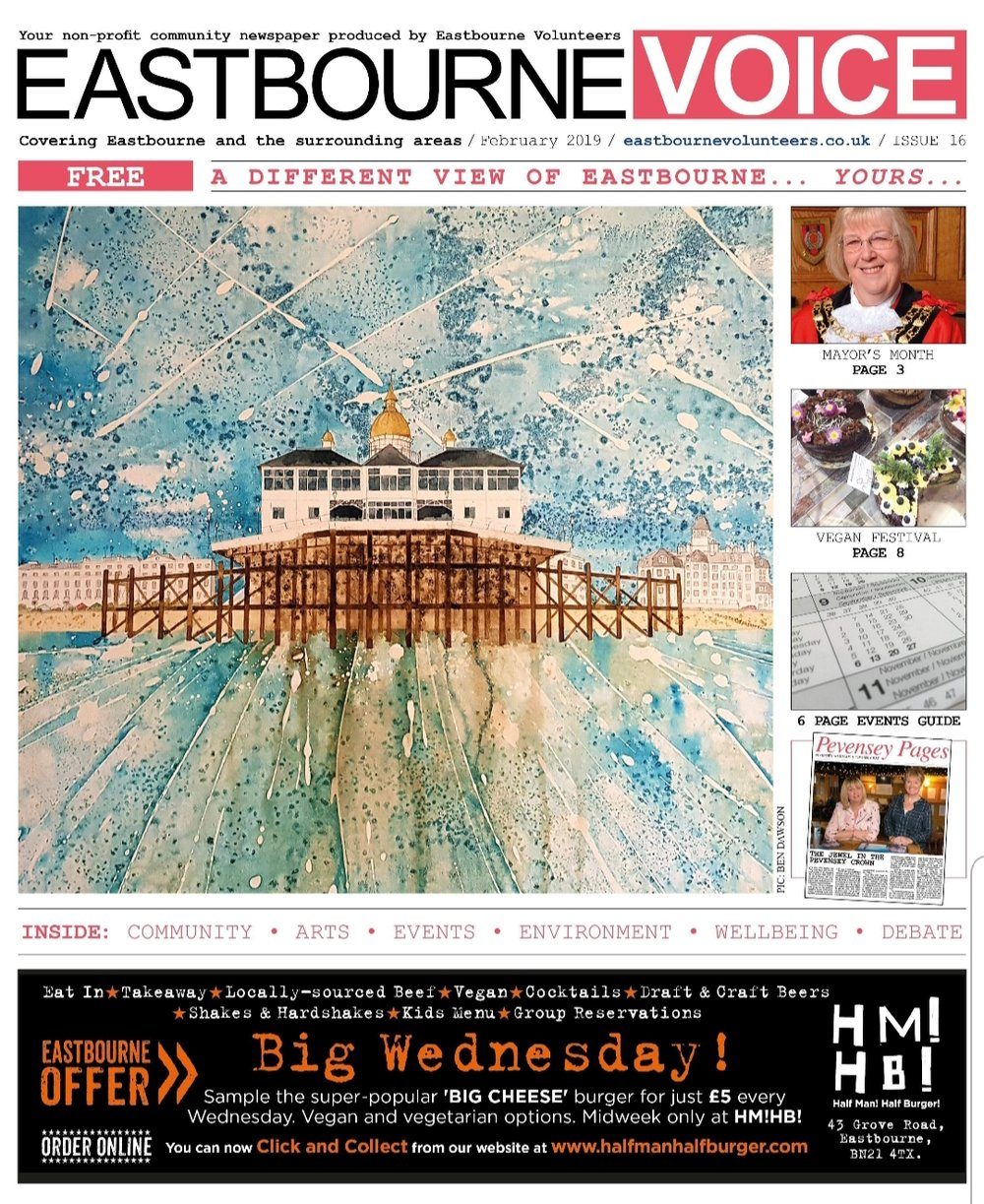 Front cover of the superb Eastbourne Voice publication. February edition, full page article to follow…
