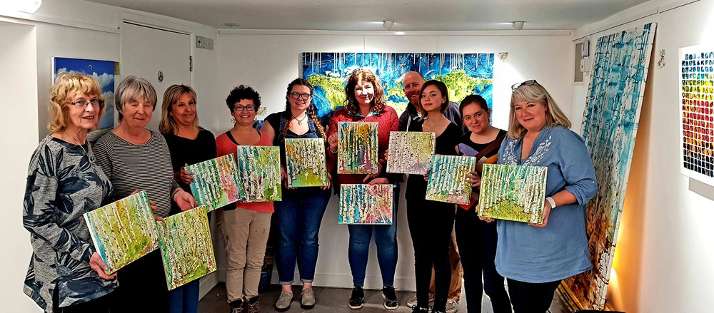 First workshop at DC1 gallery was a breat success with superb silver birch paintings!