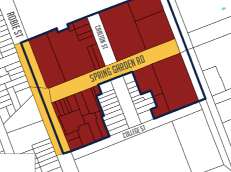 Draft Centre Plan's proposed growth centre at South West Spring Garden Road shown in red. Note at least two heritage buildings are included in the red zone.