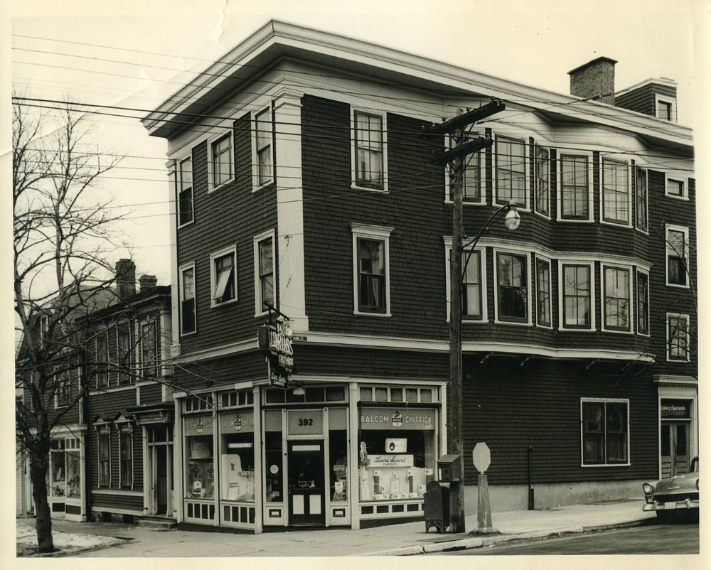 The Coburg Apartments at the corner of Spring Garden Road and Robie Street in the 1950s or early 60s.