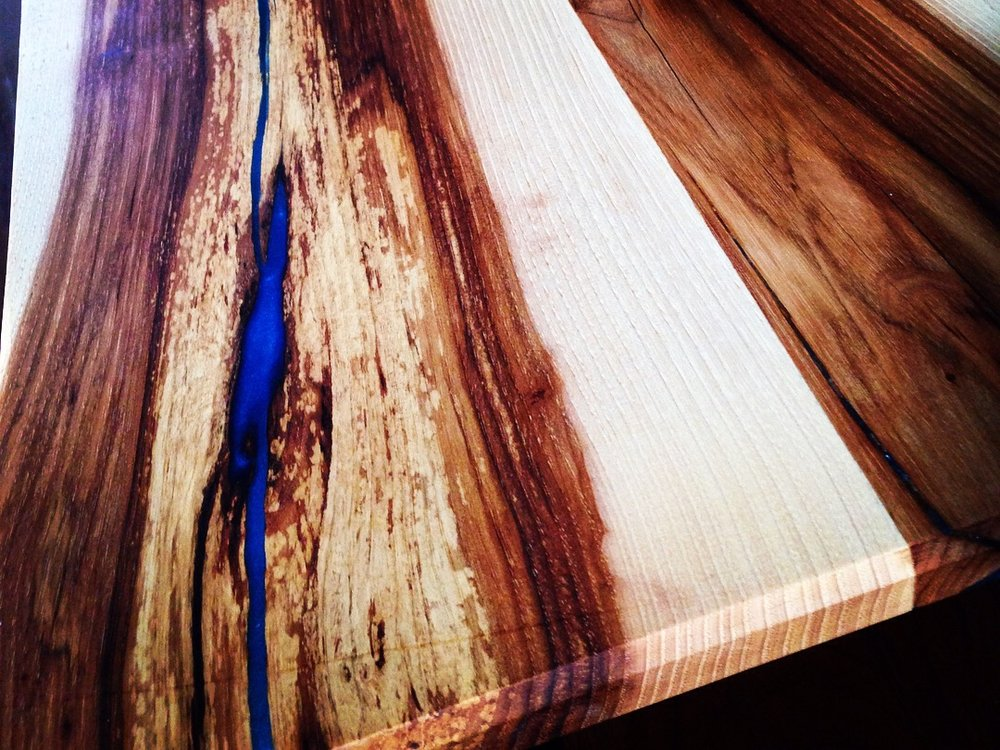 Reclaimed Hickory - We are able to bring busted lumber back to life with epoxy!