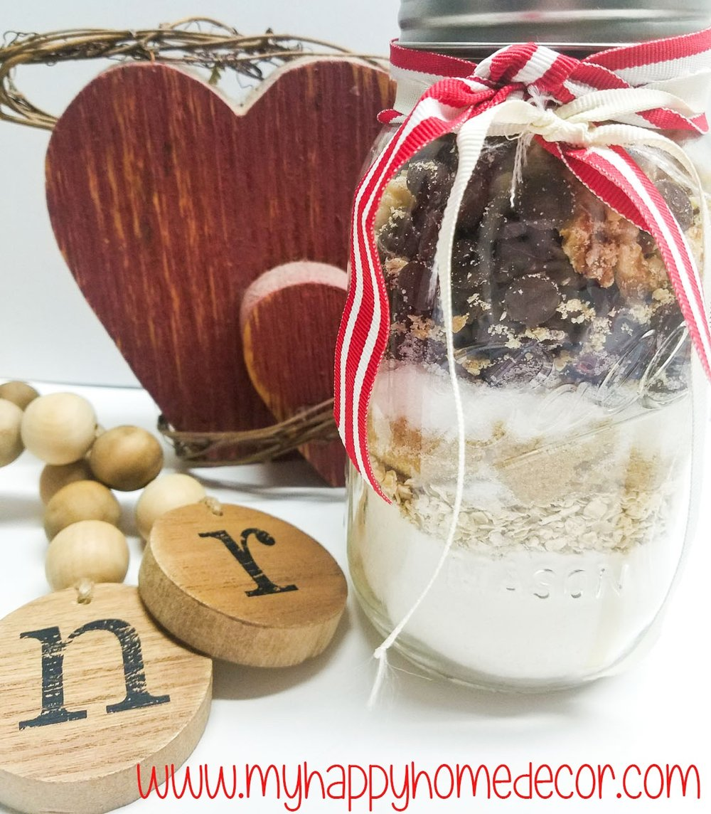 Find a cute receipt and add them to a mason jar. *Make sure to label them with the instructions and name them your favorite Valentine. These are my very own  Crazy in Love Oatmeal Cranberry  -YUM. I found the wooden beads at Hobby Lobby.