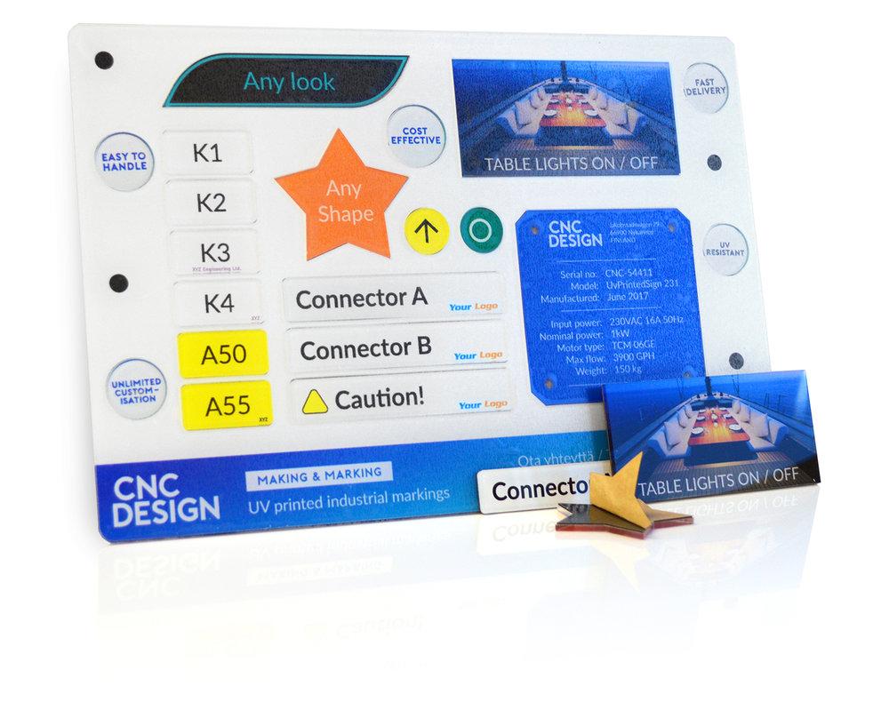 fullfärg akrylmärkningar - Priseffektiva märkningar, med ett tjockt adhesiv bakom - och ett lysande kristall-likt sken.Vi printar dina elektriska, mekaniska, eller hydrauliska märkningar med ditt varumärkes färger på baksidan av akryl för ett slitstarkt märke.Märkningar levereras på ett ark, så det är lätt att hitta märkningarna, även om det gäller ett stort antal.