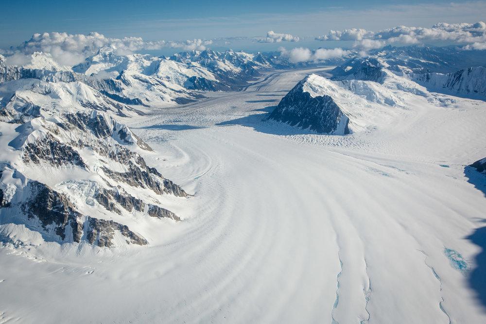 Aerial photos of the snow covered Alaska mountains