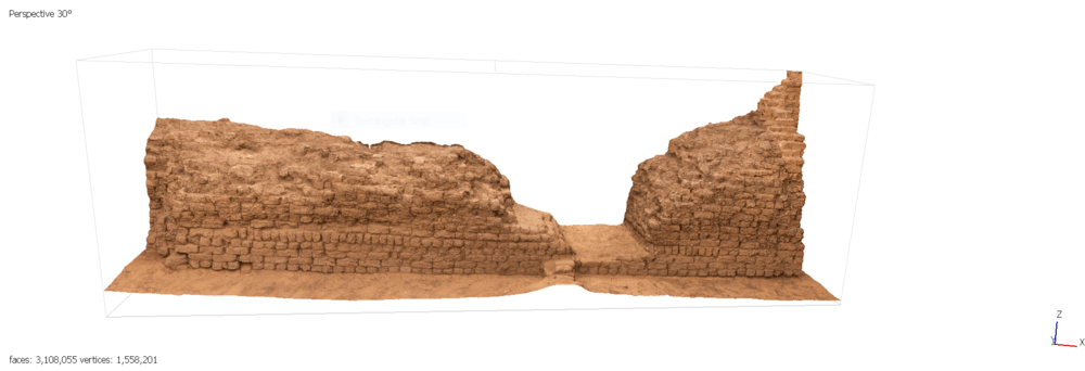 Fig. 17. Architectural modeling of the east corner gateway of the Shunet el-Zebib — step four, 3D imaging. Photo: Blair Simmons / North Abydos Expedition © 2019