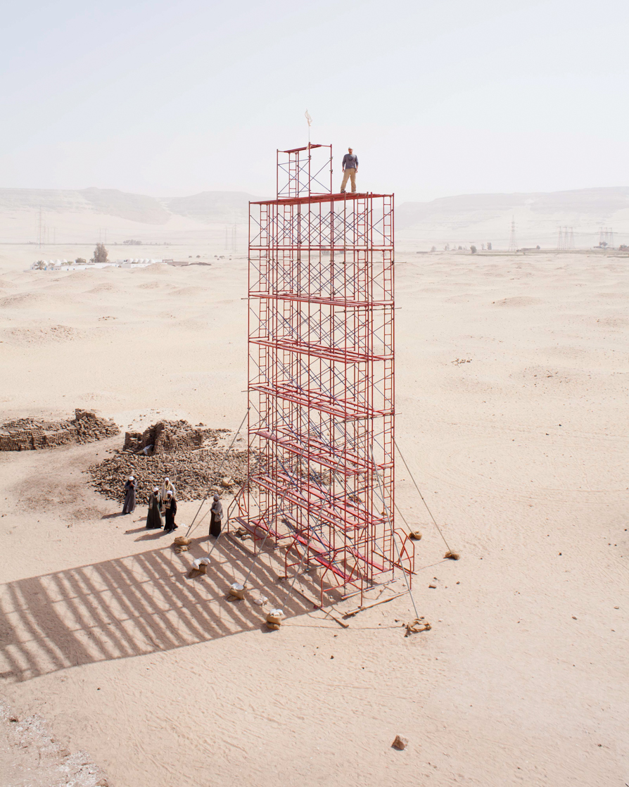 Fig. 24. Photographer Greg Maka standing on top of the largest photo tower ever constructed for archaeological documentation at Abydos. Photo: Somer Kearny / North Abydos Expedition © 2012