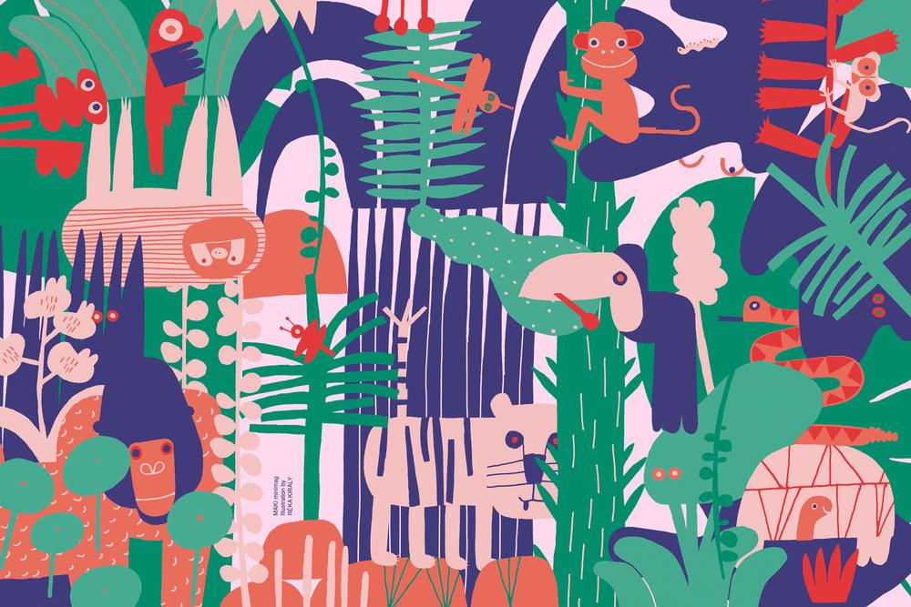 Jungle, Editorial Illustration / MAKI minimag / The Netherlands / Copyright © Reka Kiraly and Makiminimag