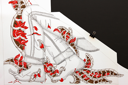 Exquisite Corpse II - Black India, Sepia and Red ink on hot pressed board, 2010, 32 x 33 inches.
