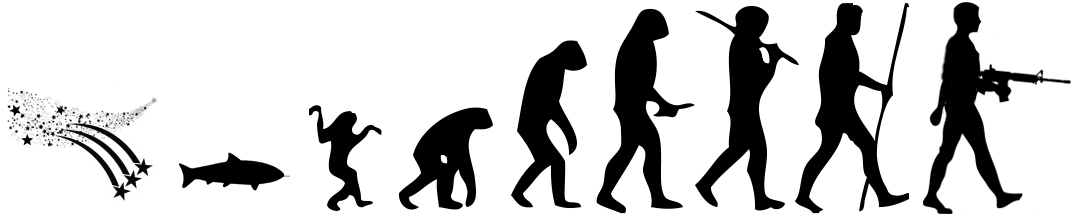 The Evolution of Man, a cartoon and a visual companion to my essay on The subject of Killing - includes a lot of stolen clipart, sorry about it.
