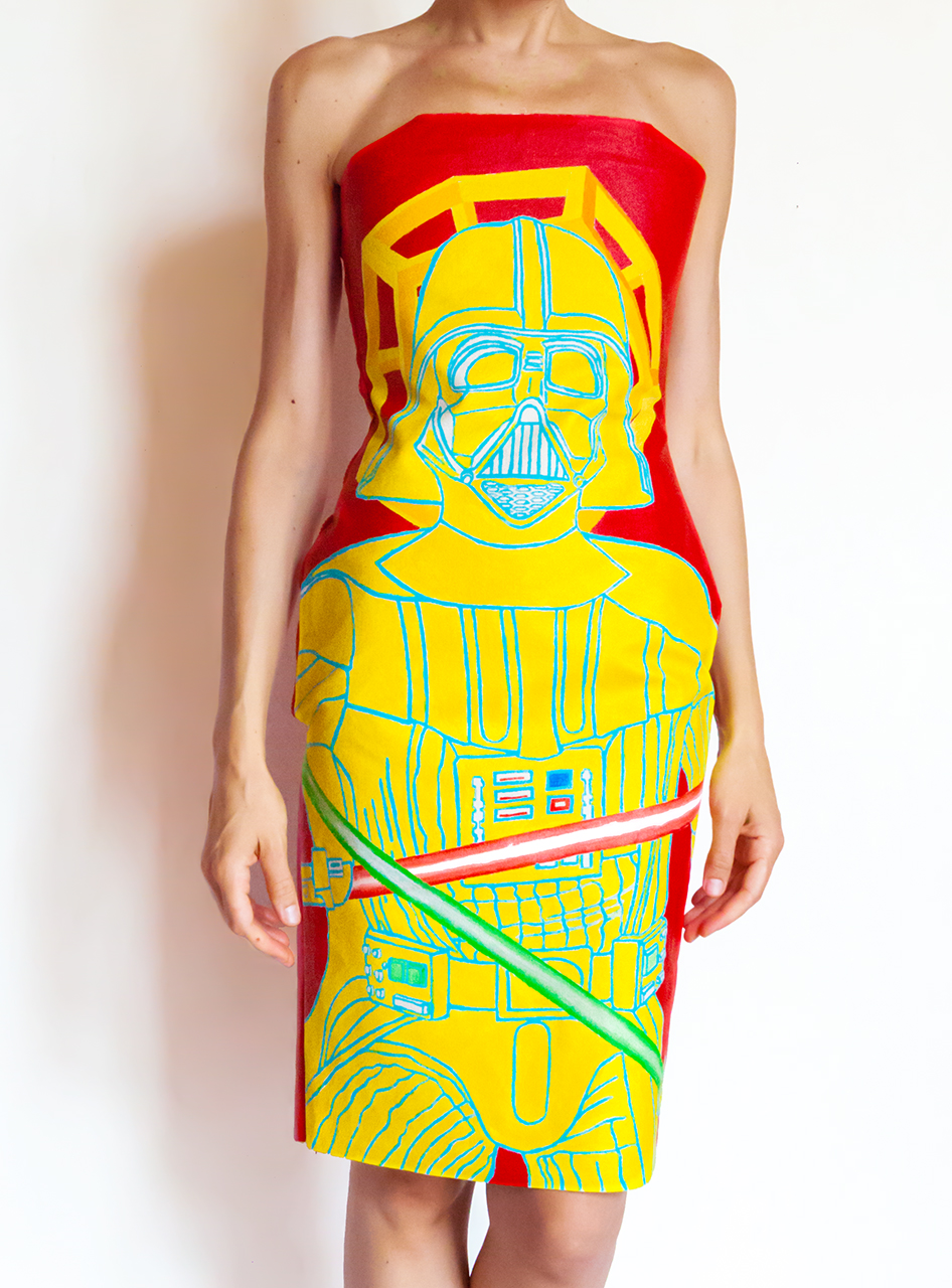 Darth Vader Dress - Hand Painted Acrylic on Canvas