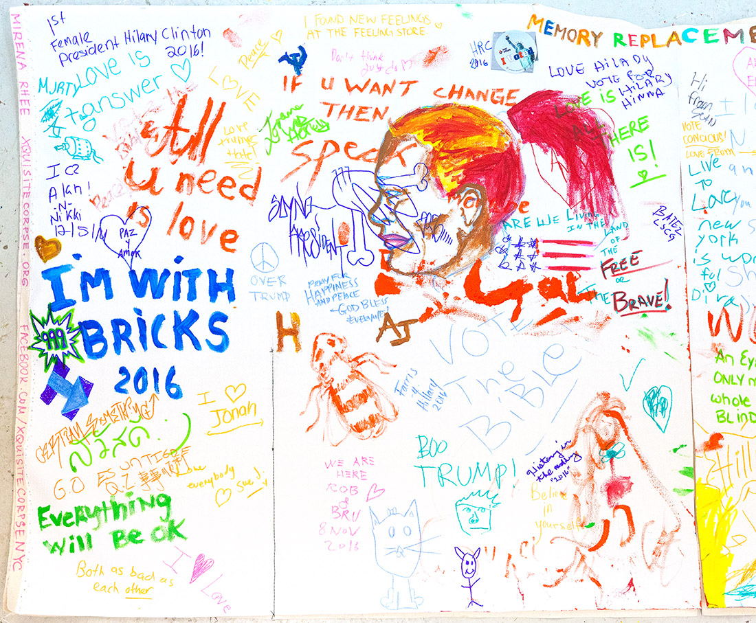 Messages written during Memory Replacement – Election Day performance on Union Square by Mirena Rhee