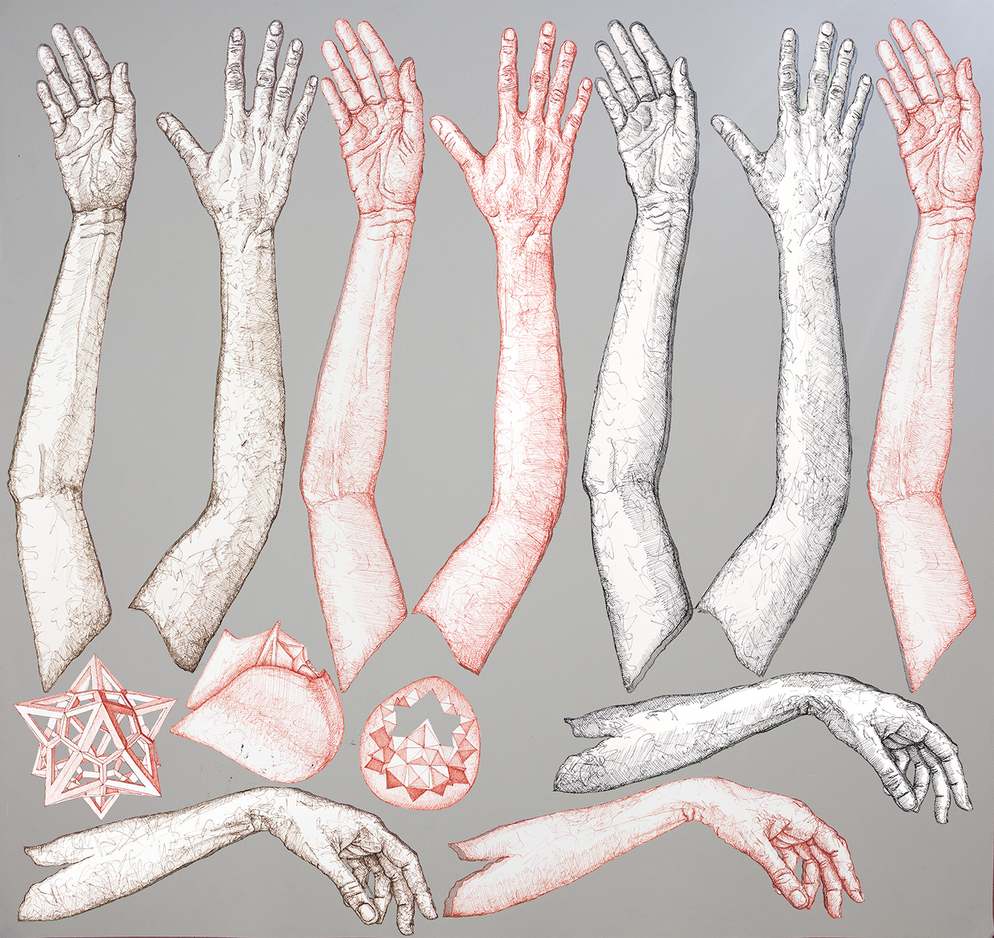 Hands Chart - pen and ink drawing by Mirena Rhee prep for an animation