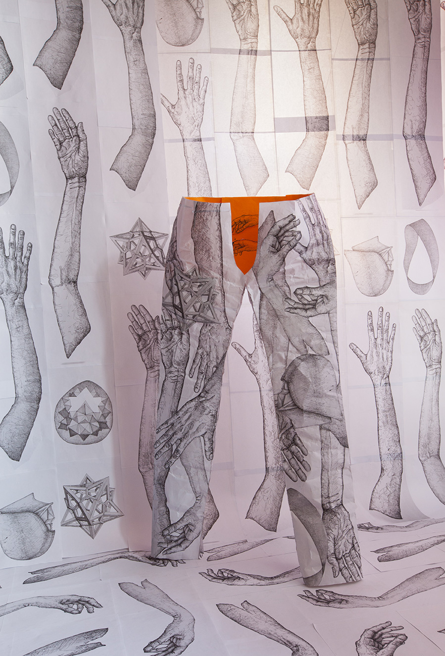 Ingredients of a Subway Car Installation with Pen and Ink Drawings by NYC based artist Mirena Rhee