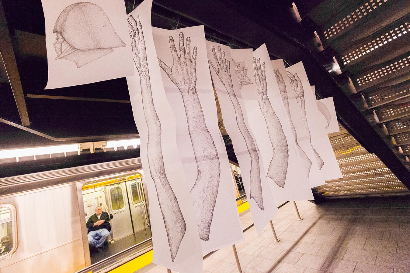 Ingredients of a Subway Car - Installation at the Hudson Yards subway station by Mirena Rhee