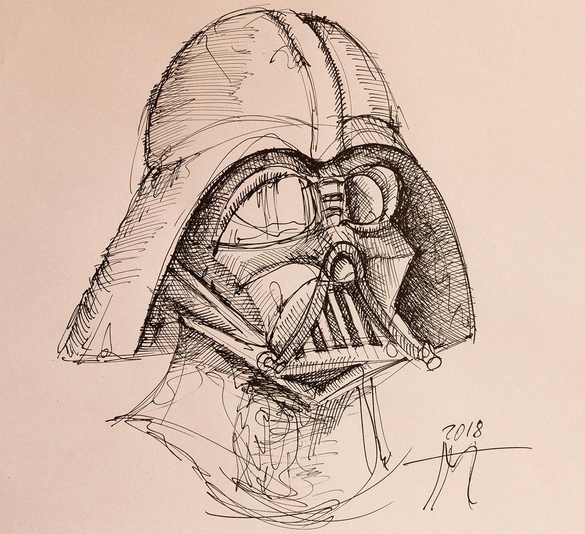 Darth Vader pen and ink drawing