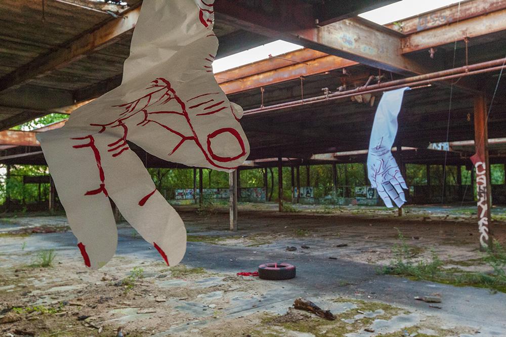 Giants Hands in Beacon - installation by Mirena Rhee
