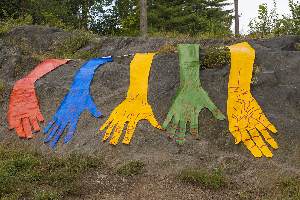 Hands Waterfall in Central Park - First of three site-specific installations I created in Central Park