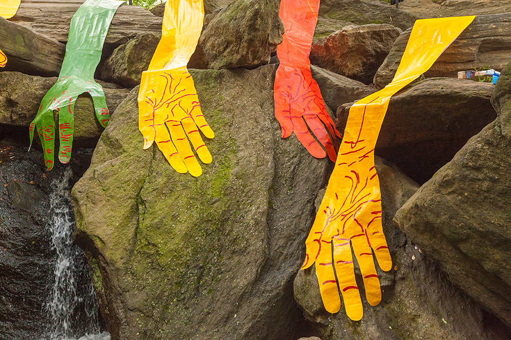 Hands Waterfall in Central Park – Second of three site-specific installations in Central Park - by Mirena Rhee