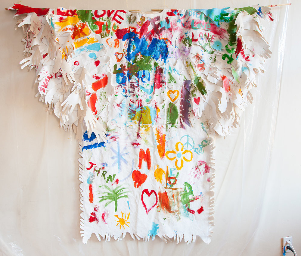 Memory Replacement World Trade Center Wearable, mixed media on canvas, 2018 Created during a performance and installation with public participation of  the same name  at the World Trade Center Memorial Site in New York City.