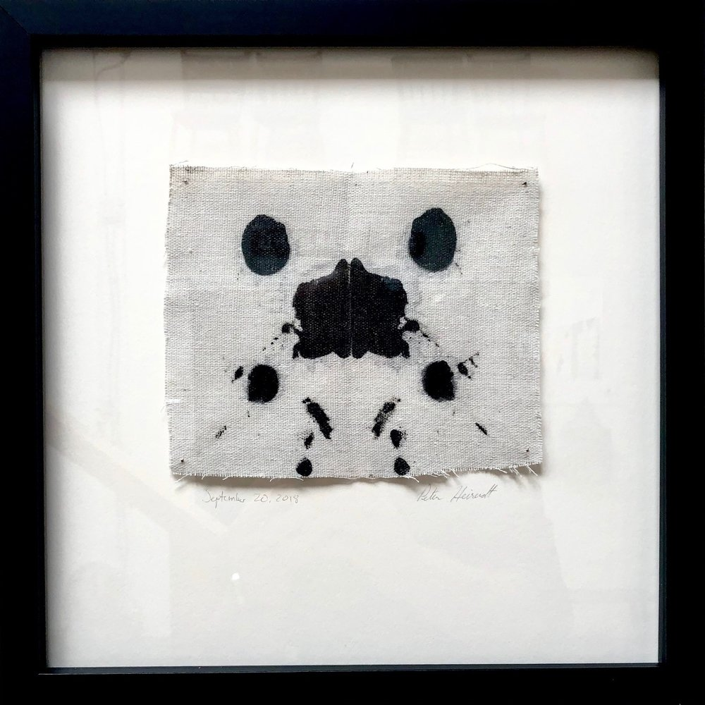 "Untitled #2237  Materials: Sumi ink, Drop cloth Dimensions: 12"" x 12""  SOLD"