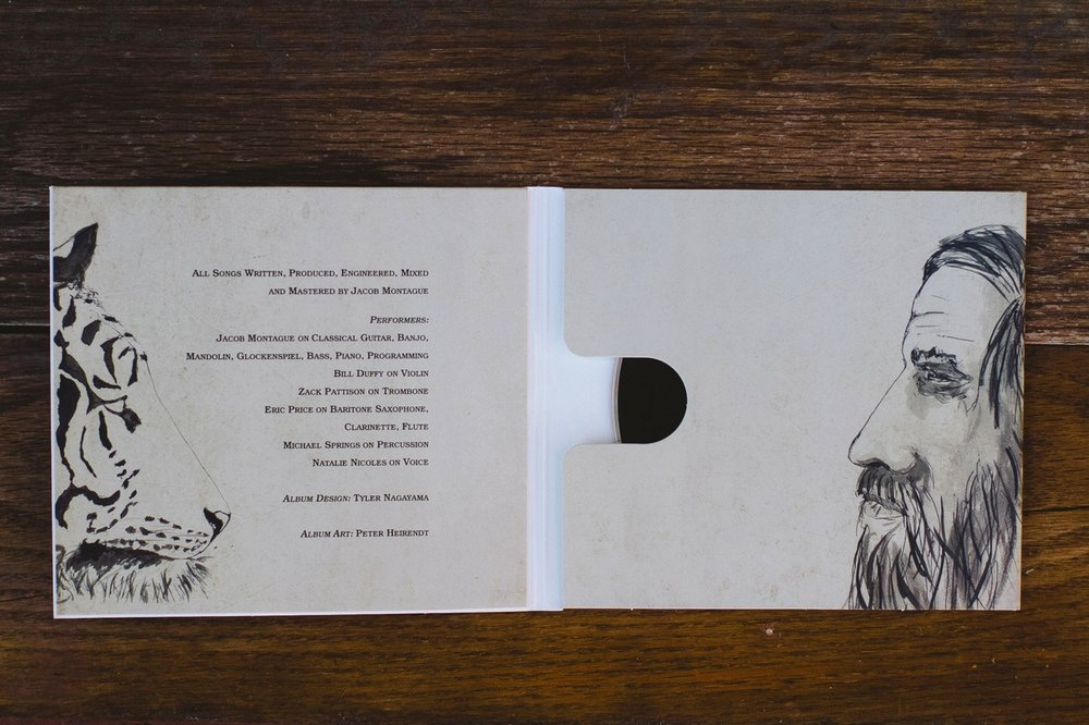 Album Cover and Insert Detail: Tiger and Traveler  Artist:  Jacob Montague  Designer:  Tyler Nagayama  Materials: Found photograph, Sumi ink