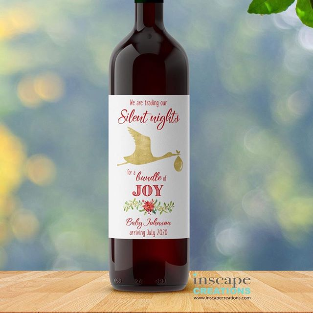 Announce your pregnancy this Christmas to your loved ones with these custom wine labels. Check our website www.inscapecreations.com #inscapecreations and Etsy shop InscapeCreations . . #pregnancyannouncement #pregnancyannouncementideas #christmaswinelabels #expectingparents #expectingmommy #expectingmom #preggers #winelabel #customwinelabel #customwinelables #pregnancyreveal #winegifts
