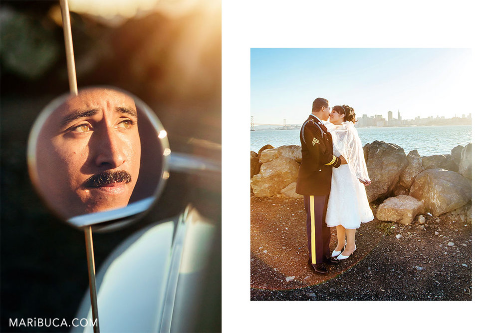 groom is looking to the future through the mirror. The bride and the groom is kissing each other in the an amazing view of San Francisco.