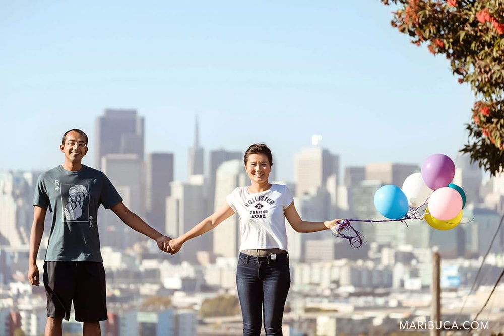 Potrero Hill San Francisco engagement for fiancee and fiance with colorful Balloons