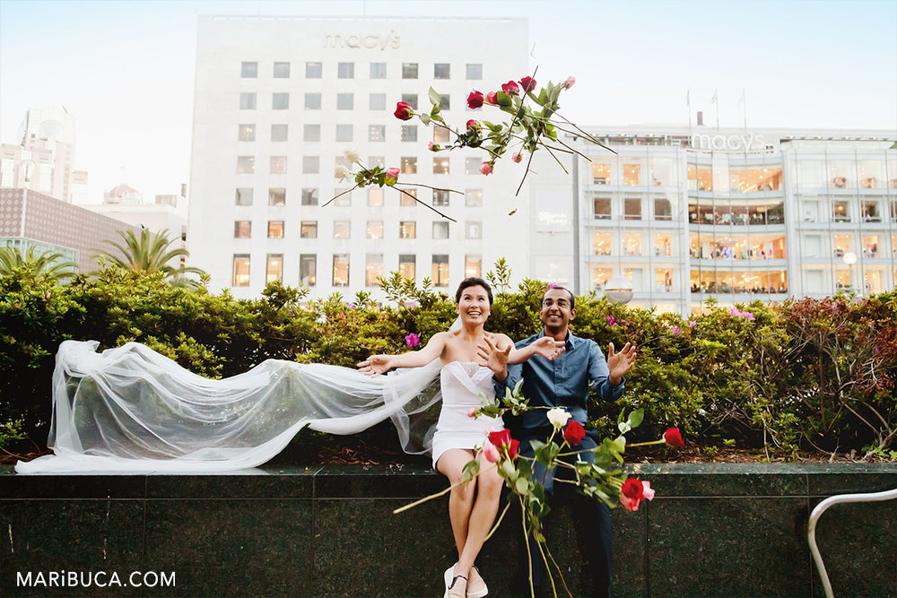 groom and bright through roses in the SF, California