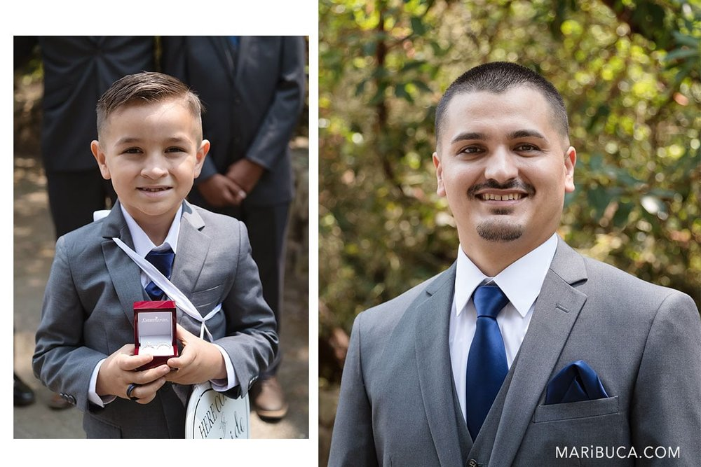 expecting the bride for wedding ceremony. The son and dad as groom in the wedding,