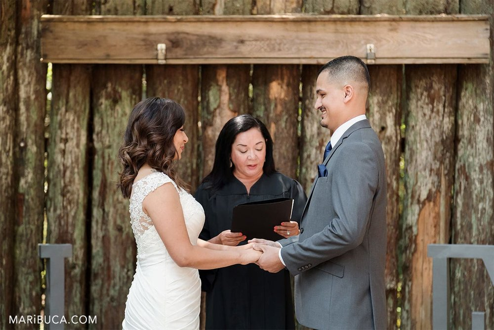 the bride and the groom look each other in the wedding ceremony in the Mt Madonna County Park