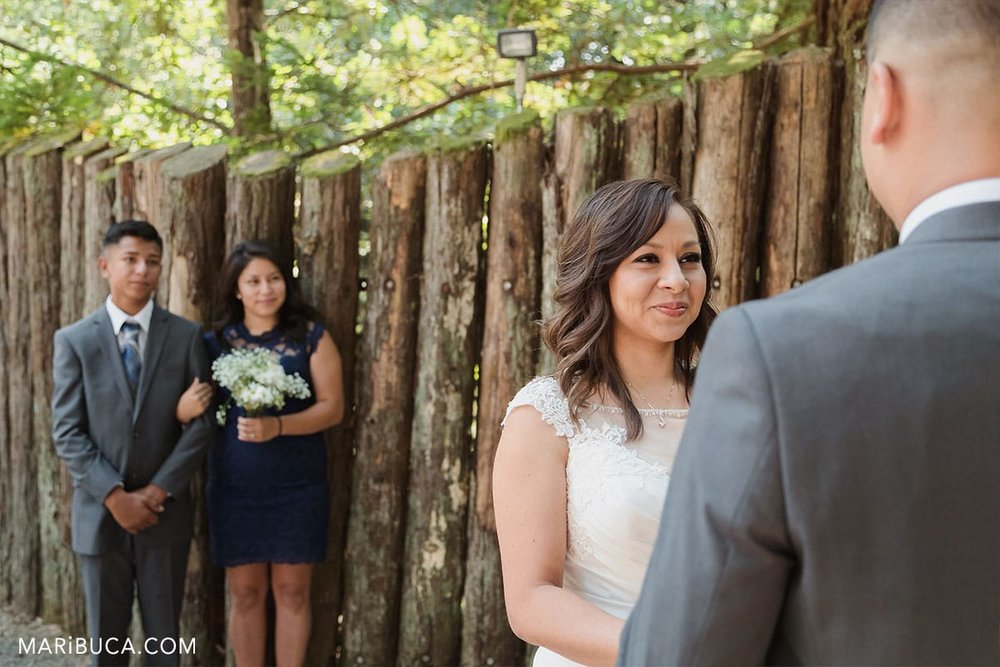 bride so excited and look at her future husband