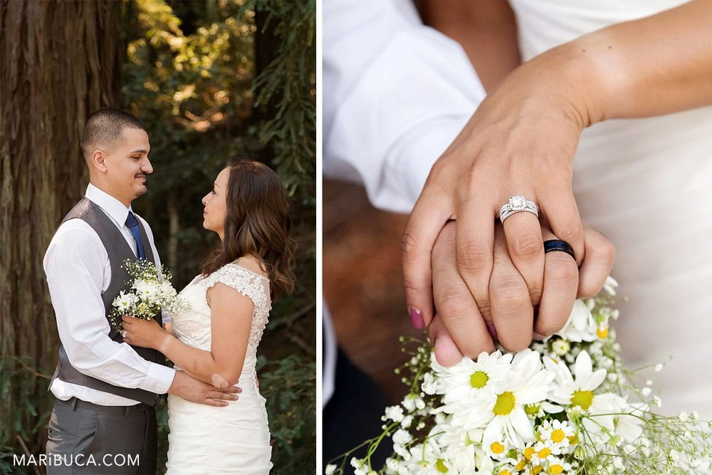 wedding bouquet, married couple hands with wedding rings