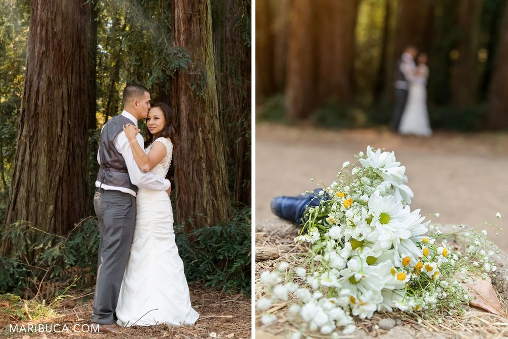 wedding time not guest only bride and groom. Sunset time for beautiful images with high pines