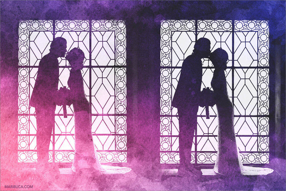 The colorful purple rose silhouette of newlyweds in the San Francisco City Hall City Hall.jpg