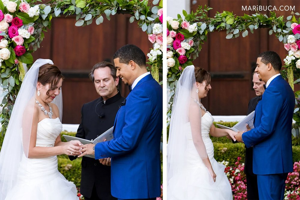 Rings exchange. Groom and bride place the rings and repeat after officiant.