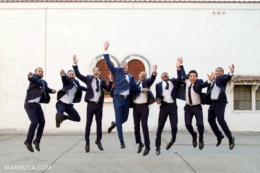 Just jump in the funny wedding with the groom, best man and wedding party.