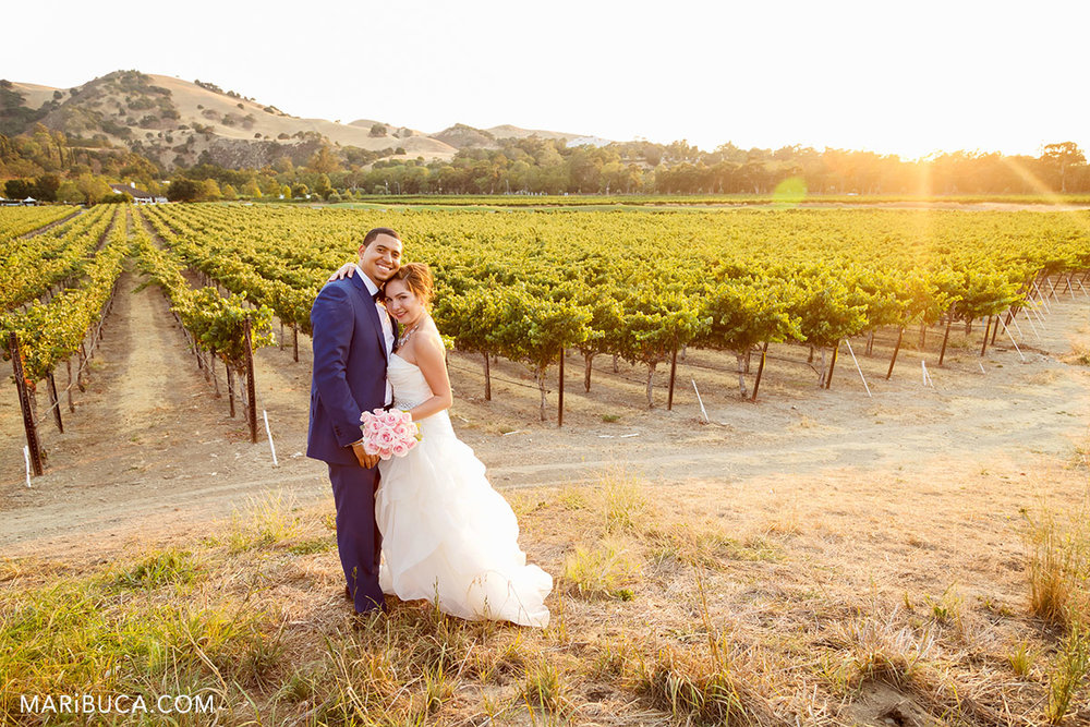 Adorable sunset with just married couple in the Wente Vineyards Wedding.