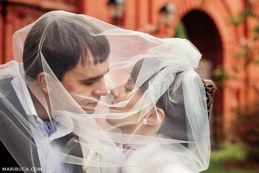 The bride and groom almost kissed and both are covered by a veil of the bride on a background of a red wall.
