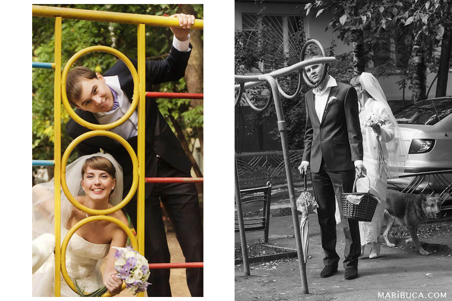 bride and groom walk on the playground in front of the registry office