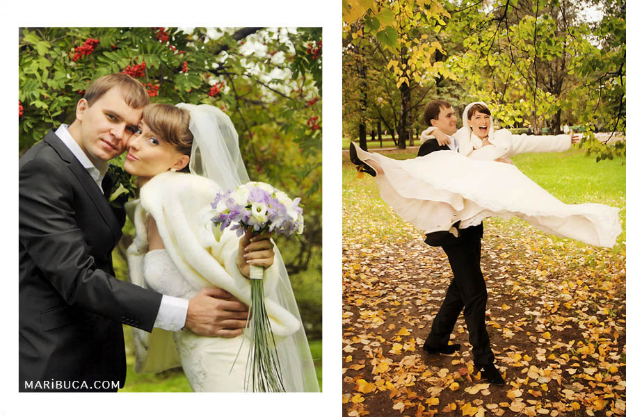 bride and groom in the park on a background of green and yellow foliage. The groom lifted the bride on the arm and turns her.
