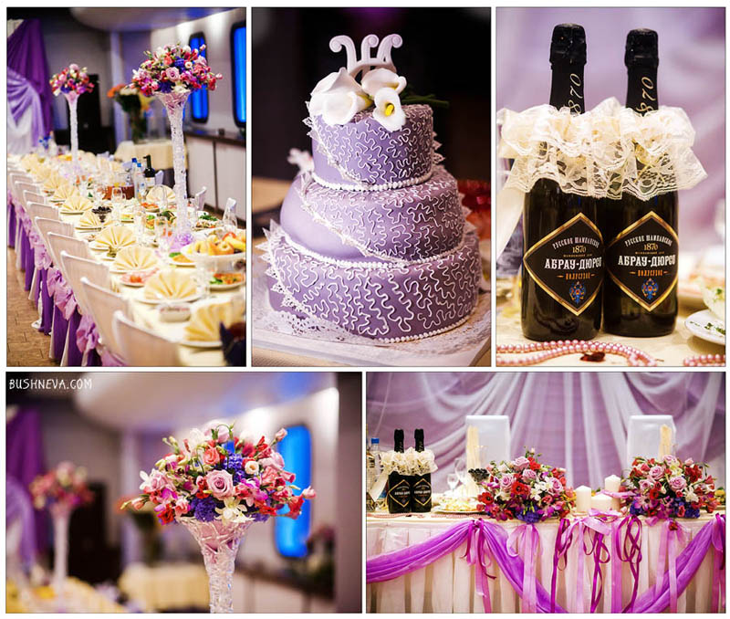 the main colors and details in the reception at the wedding: a purple luxury cake, decorated champagne bottles, a table for guests with white tablecloths, in glass vases with glass legs are lively red-pink-violet flowers.