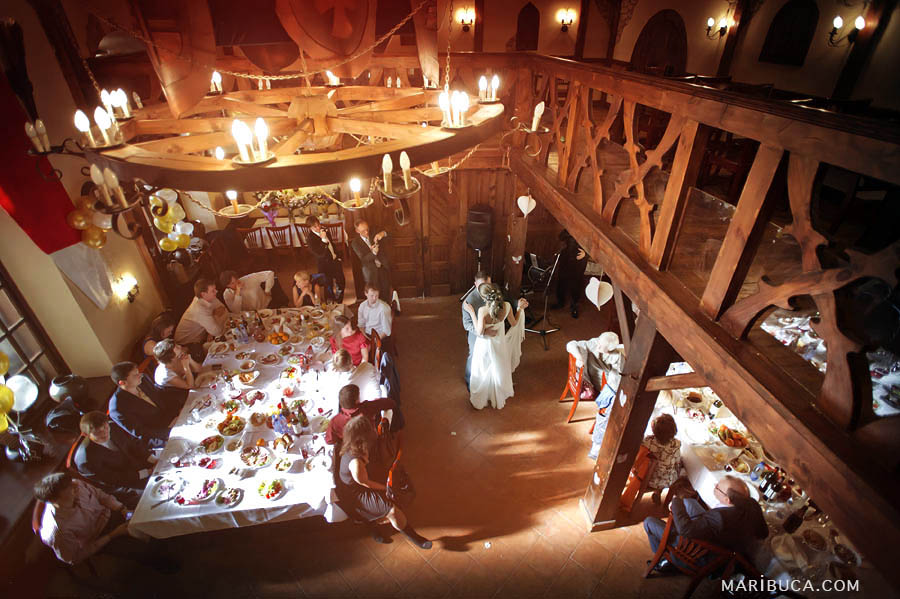 view from the second floor of the barn of the first dance newlyweds in Los Gatos