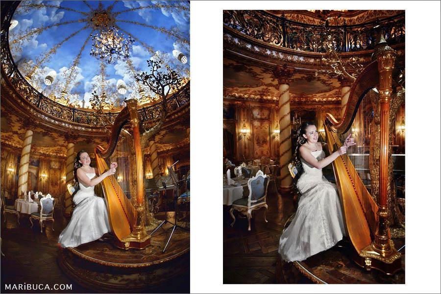 A harp bride in a museum setting under a blue sky.
