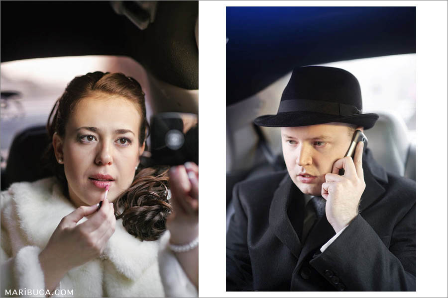 portrait of the bride and groom in the car