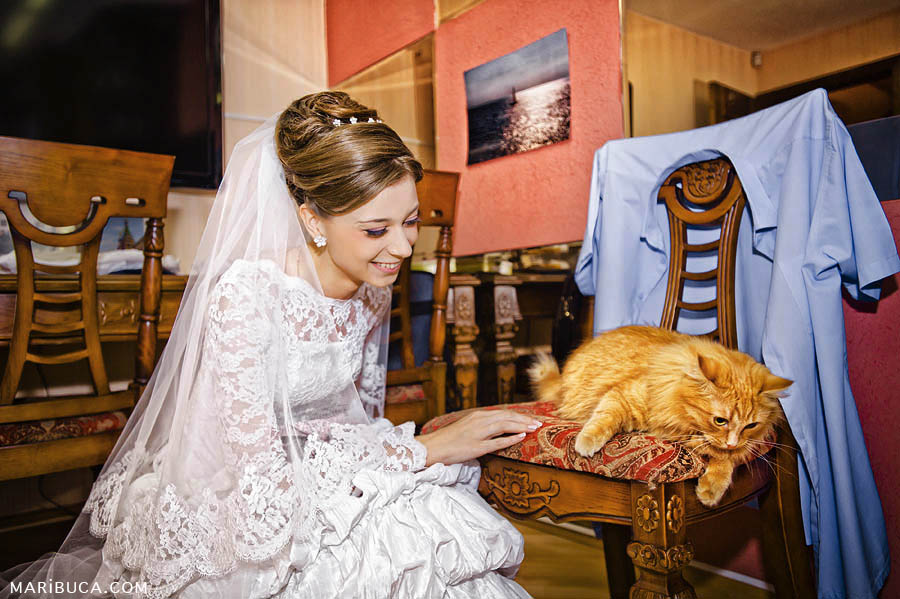 Bride looks at her adorable orange cat