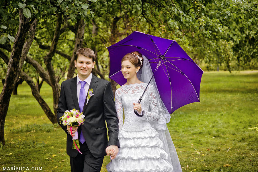 Newlyweds walk under the purple umbrella surrounded yellow and green apples