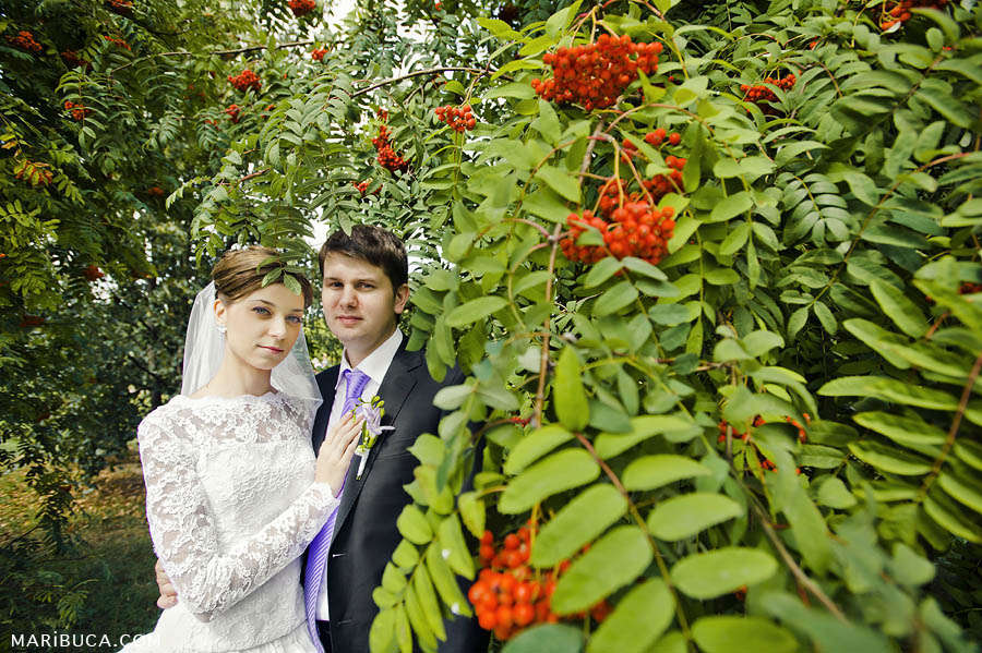 newlyweds stand among red rowan