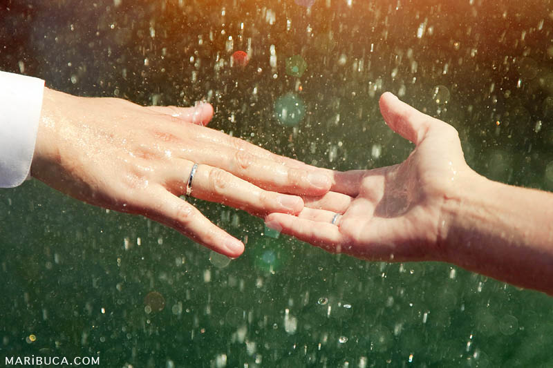 Man and woman hands are touching. Wedding rings and drop water as the green background.