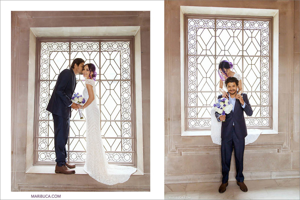 In the San Francisco City hall, the newlyweds couple are having fun standing and sitting in the window for taking a staging pictures.